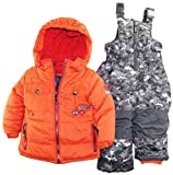 Rugged Bear Little Boys Winter 2 Piece Snowsuit in Camo with Ski Pant Set, Orange, 3T