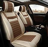 (ファーストクラス)FirstClass フォーシーズン カーシートカバー 前部 フロントシートカバー 滑り止めシート 車シート保護 エアバッグホールあり リネンコットン製 通気性に富む 快適 5シート車汎用 2枚 ベージュ&コーヒー