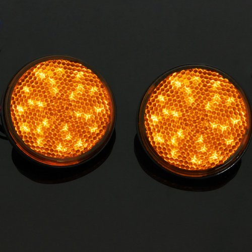 Yellow 24 Led Round Reflectors Tail Brake Stop Marker Light Truck Trailer Rv Atv Motorcycle