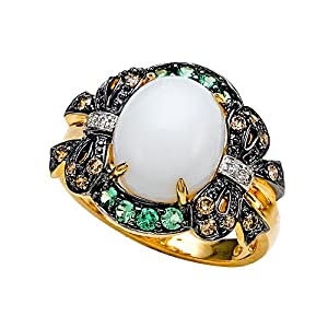 Click to buy Chocolate Diamonds: Carlo Viani White Agate Ring with Brown Diamonds and Tsavorite in 14K Yellow Gold from Amazon!