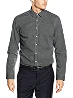 Seidensticker Camisa Vestir Super Slim (Negro / Blanco)