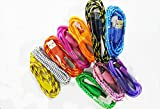 F-Dorla 10pcs/lot Colorful 2m 6ft Fabric Braided Flat Micro USB 2.0 Data Sync Cable Charging Cord for Samsung Galaxy Note 2 S4 S2 Galaxy Nexus HTC One X One S Sensation G14 Thunderbolt Nokia N9 Lumia 920 900 Blackberry Z10 Sony Xperia Z (2M(6ft))