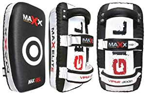 Pair of blk/white Curved Gel Leather Thai Pad Kick boxing bag MMA training arm pad set