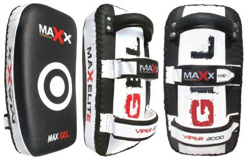 Pair-of-blkwhite-Curved-Gel-Leather-Thai-Pad-Kick-boxing-bag-MMA-training-arm-pad-set