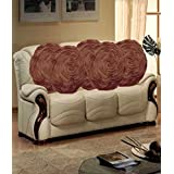 Hargunz Round Rose Design Cushion Covers Set Of 5-Brown(cus-round-brn-rose)