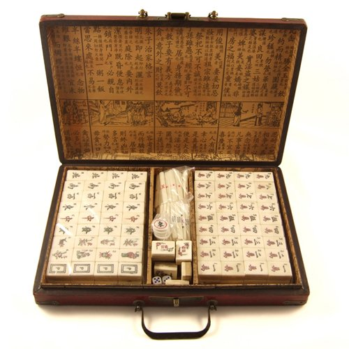 Large Mahjong Set with Bamboo  &  Bone Tiles