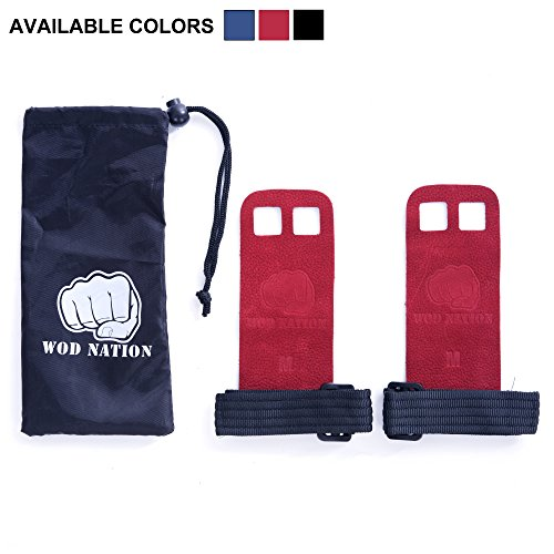 Leather Barbell Gymnastics Grips by WOD Nation - Red - Medium (The Natural Grip compare prices)