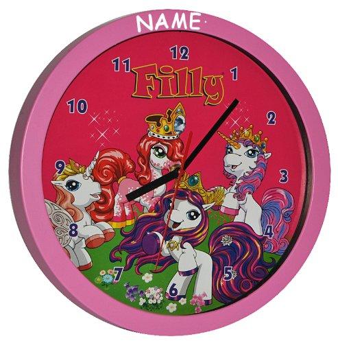 Wanduhr Filly Pferde – incl. Name – 30 cm groß Uhr – Kinderzimmer Einhorn Kinderuhr – analog Pferd Unicorn Einhorn Mädchen Magic Magicart Prinzessin jetzt bestellen