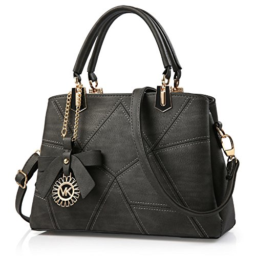 koson-man-womens-new-style-diamond-lattice-leather-elegance-bowknot-tote-bags-shoulder-bagslightblac