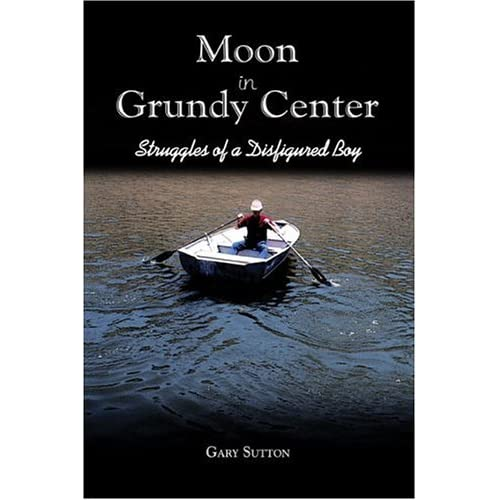 image of book cover of the novel, Moon in Grundy Center, by Gary Sutton 1960 AHS Alum