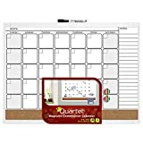 Quartet Magnetic Combination Calendar Board, 17 x 23 Inches, Dry Erase and Cork, 1-Month Design with List, White Frame (79380-WT)