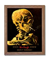 Vincent Van Gogh Don't Smoke Skeleton Home Decor Wall Picture Oak Framed Art Print