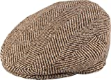 Henschel Italian 100% Wool Herringbone Ivy Scally Cap Driver Newsboy Flat Hat Brown