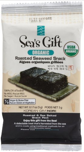 Sea's Gift Organic Korean Seaweed Snack, Roasted and Sea Salted, 0.17-Ounce (Pack of 24) image