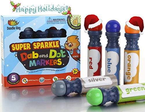 Dab and Dot Markers Superboy Shimmer Washable Paint Art Dauber Markers in Silver, Red, Orange, Blue, Green (Dot Makers For Kids compare prices)