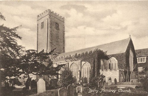 1905 Vintage Postcard Berry Pomeroy Church -