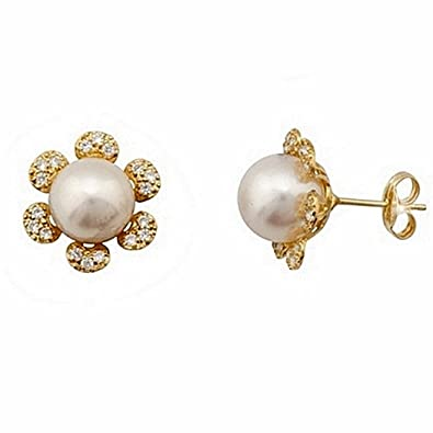 18k gold earrings cultured pearl 8mm. petals zircons [7156]