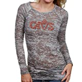 NBA Touch by Alyssa Milano Cleveland Cavaliers Ladies Gray Rhinestone Logo Sheer Burnout Premium Long Sleeve T-shirt (Medium) Amazon.com