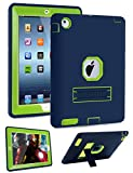 Topsky 3321649  3 Layer Armor Kickstand Case for iPad 2,3,4 with Stylus Pen, Navy Blue/Lemon yellow