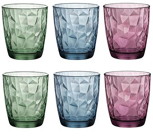 Amazon.com | Bormioli Rocco Diamond Double Old Fashioned Glasses, Ocean Blue, Set of 6: Bormioli Rocco Glassware: Mixed Drinkware Sets