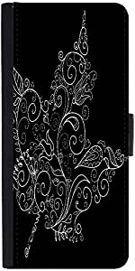 Snoogg Black And White Maple Leaf Designer Protective Phone Flip Case Cover For Xiaomi Mi 4