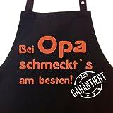 Bei OPA schmeckt`s am besten! Garantiert! - Kochschürze, Latzschürze mit verstellbarem Nackenband und Seitentasche - Die Geschenkidee!