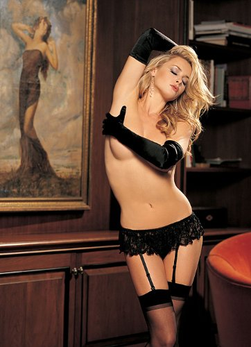 90115 Stretch Lace Garterbelt Set, Black, One Size