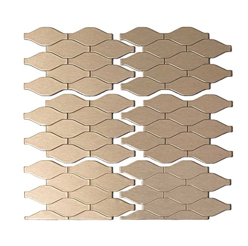 Aspect Peel and Stick Backsplash 6inx4in Wavelength Champagne Matted Metal Tile Sample for Kitchen and Bathrooms