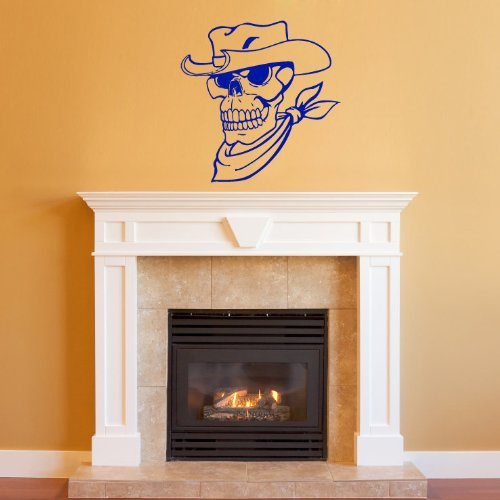 Housewares Wall Vinyl Decal Skull Skeleton Cowboy Art Decor Removable Stylish Sticker Mural Unique Design For Any Room 129 front-1051698
