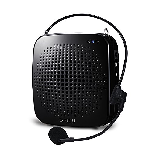 SHIDU Portable LoudSpeaker with Microphone, Classroom PA System Voice Amplifier with Natural Sound - Works as Speaker with Aux Cable, Ideal Voice Amplifier for Instructors, Emcees, Tour Guides (BLack) (Portable Pa Sound System compare prices)