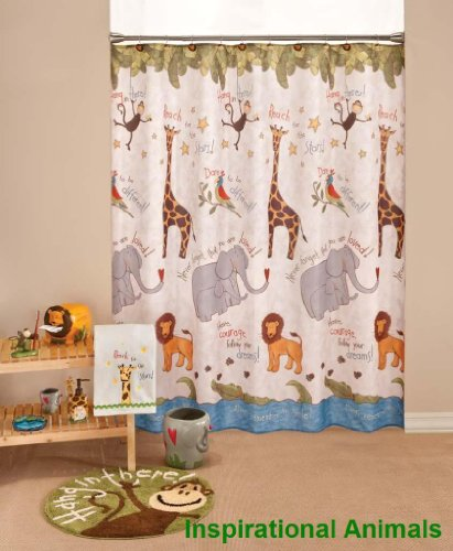 New fabric childrens inspirational jungle animal shower for Childrens jungle fabric