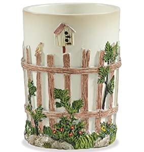 Outhouse Bath Collection Resin Tumbler Birdhouse Fence Flowers Country