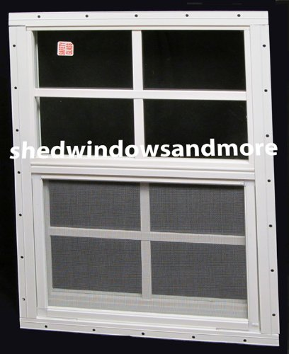 shed window 18 x 27 white flush mount with safety glass