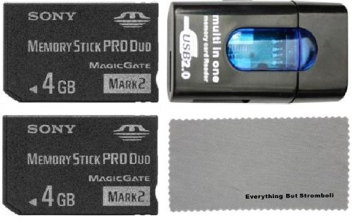 Sony 8GB (4GB x2 = 8GB) Memory Stick PRO DUO MSPD (Mark 2) Memory Card with Card Reader