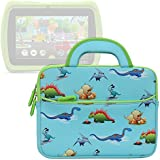 Evecase LeapFrog Epic/ LeapPad Platinum/ LeapPad Ultra XDI 7'' Kids Tablet Sleeve Case, Cute Dinosaurs Themed Neoprene Travel Carrying Slim Bag w/ Dual Handle and Accessory Pocket - Blue w/ Green Trim