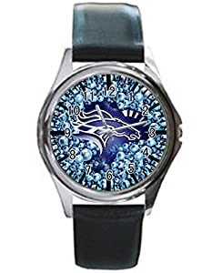 Dude Custom Denver Broncos Men's Black leather watch round black custom watches Perfect Gift for men and women