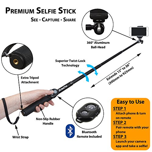selfie stick for gopro iphone and android smartphone digital camera and dslr a professional. Black Bedroom Furniture Sets. Home Design Ideas