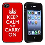 Rubber Red Keep Calm And Carry On iPhone 4 or 4s Case / Cover Verizon or At&T