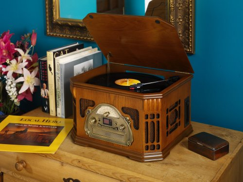 Wood Veneer Nostalgic Style CD, Radio, Record Player (Turntable) E516 Music Stereo System