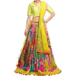 Everest women's Creap-Banglory with digital print Work Multi color Semi-Stitched Bollywood Designer Lehenga Choli/partywear lehenga choli.