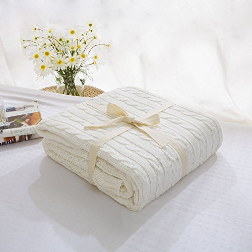 Prosshop Handmade Super Soft Crochet Fabric Lovely Sleeping Throws Comfortable and Warm Oversized Sofa Quilt Living room blanket Fit for Adult and Teens Resting reading Apply on All Seasons (White) (Cable Knit Blanket Full compare prices)