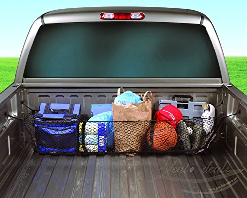 Zento Deals Black Mesh Three Pocket Trunk Cargo Organizer Storage Net (Truck Cargo Bar And Net compare prices)