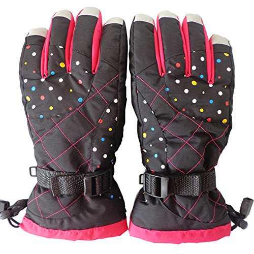 Klau Waterproof Women's Winter Skiing Warm Gloves Outdoor Riding Full Finger Gloves Black