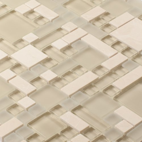 Glass Stone Mosaic TILE for Bathroom, Kitchen, Backsplash - Enigma Series, Sugar Scone (1 sq.ft.)