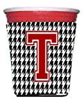 Monogram - Houndstooth  Initial  T Red Solo Cup Beverage Insulator Hugger CJ1021T-RSC