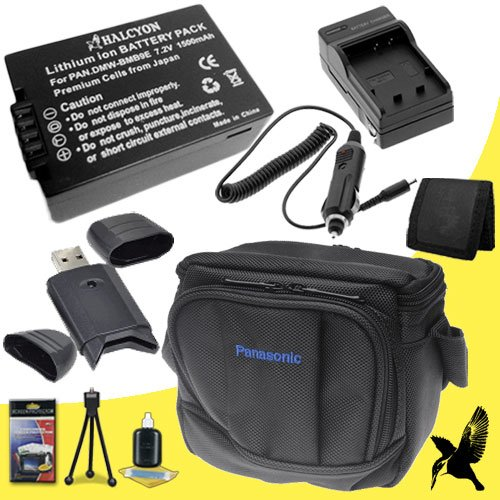 Halcyon 1500 mAH Lithium Ion Replacement DMW-BMB9 Battery and Charger Kit + Original Panasonic Lumix DMC-FZ70 Carrying Case + Memory Card Wallet + SDHC Card USB Reader + Deluxe Starter Kit for Panasonic Lumix DMC-FZ70 Digital Camera and Panasonic DMW-BMB9