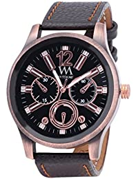 WATCH ME BLACK BROWN LEATHER ANALOG WATCH FOR MEN AND BOYS WM-0069-B