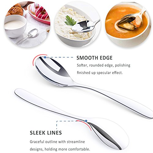 Pofesun 40pcs Cutlery Sets, 18/0 Stainless Steel Flatware Tableware Set with Spoon, Teaspoon, Knife and Fork, Service for 8