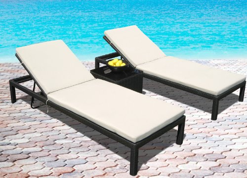 Outdoor Wicker Patio Pool Lounge All Weather 3 Pc Resin Wicker Chair Recliner