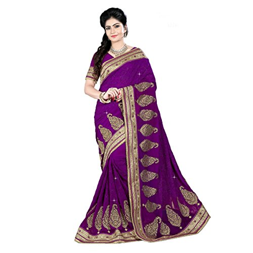 Aagaman-Fashion-Faux-Georgette-Sarees-TSAMK3098APurple